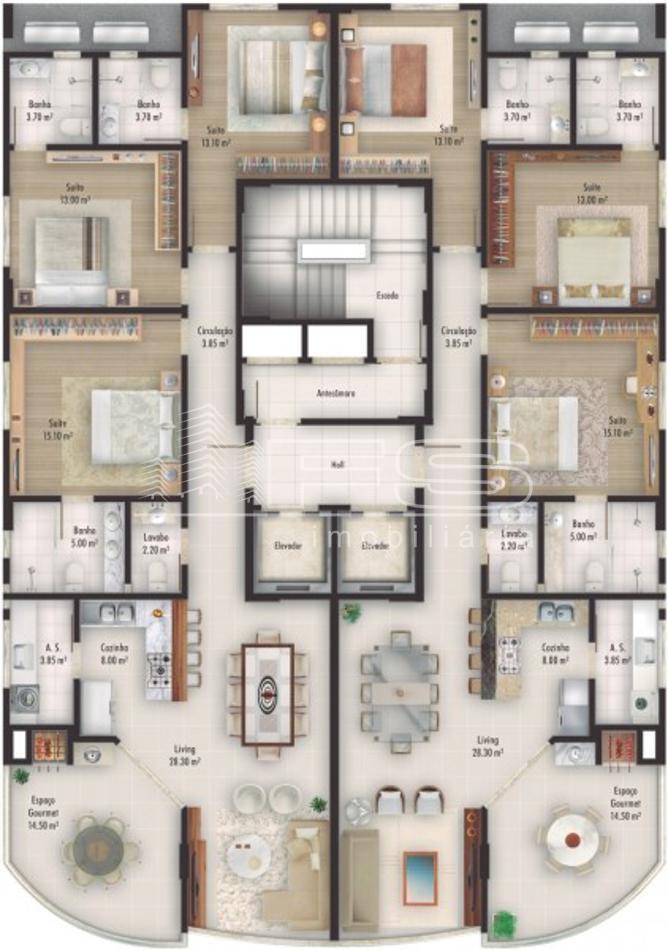 Apartamento com 3 Dormitórios à venda, 127 m² por R$ 1.379.000,00