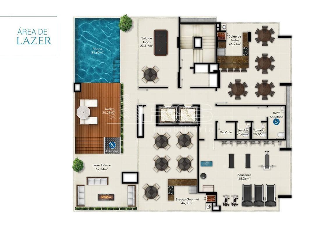 Apartamento com 2 Dormitórios à venda, 66 m² por R$ 538.333,00