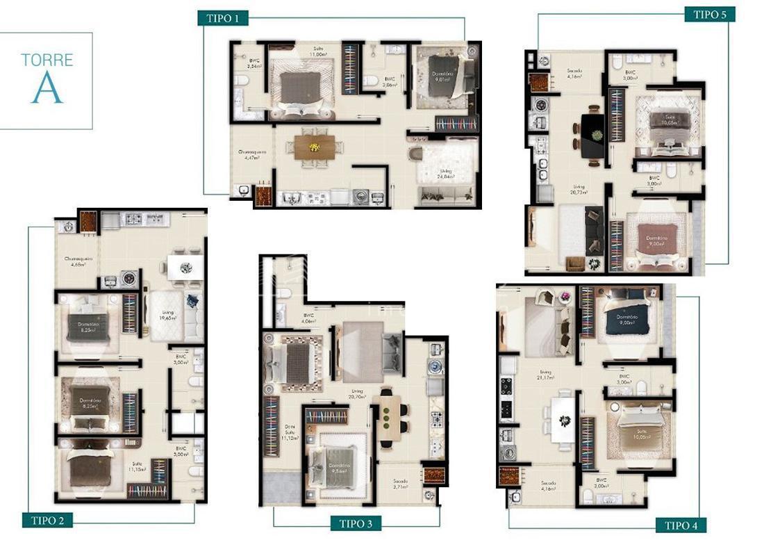 Apartamento com 2 Dormitórios à venda, 62 m² por R$ 532.696,00