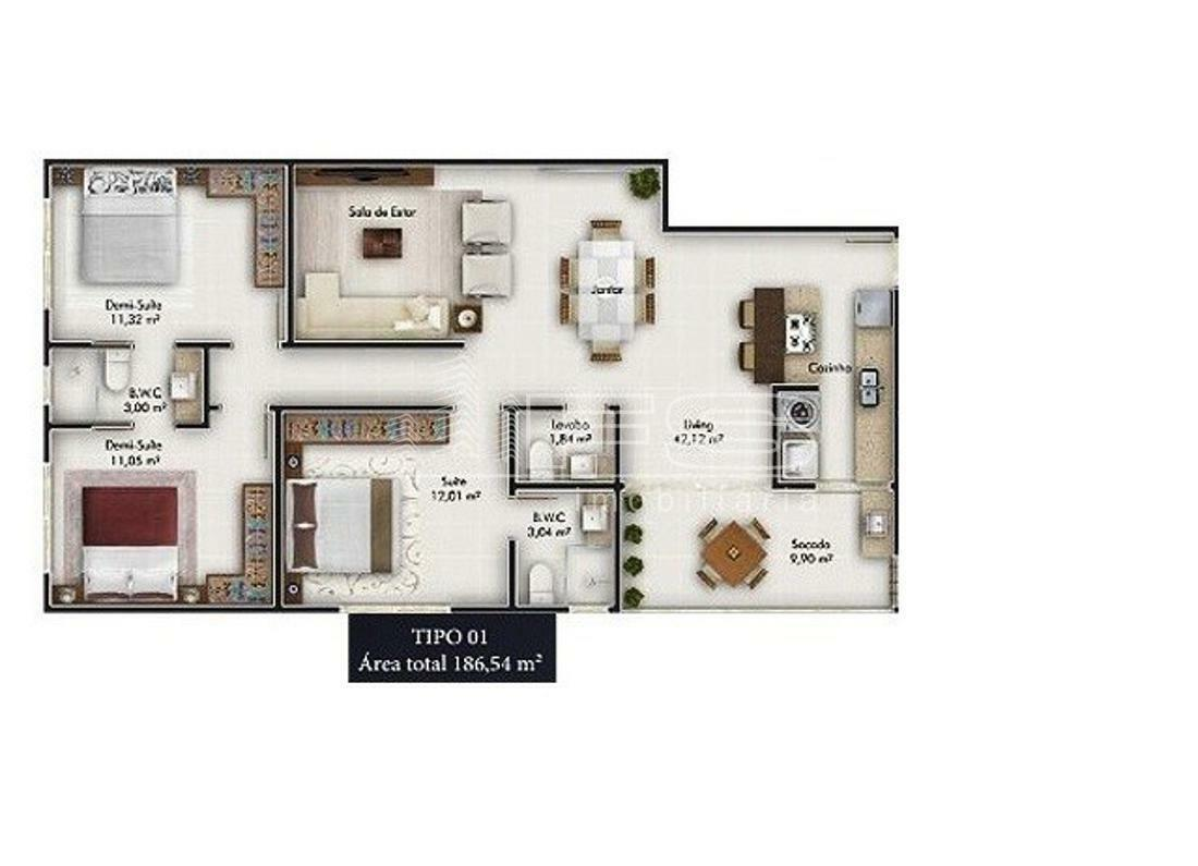 Apartamento com 3 Dormitórios à venda, 186 m² por R$ 999.200,00