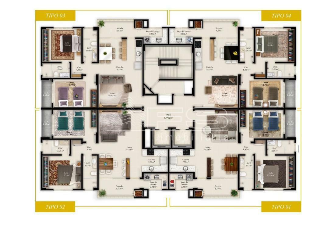 Apartamento com 2 Dormitórios à venda, 70 m² por R$ 413.000,00