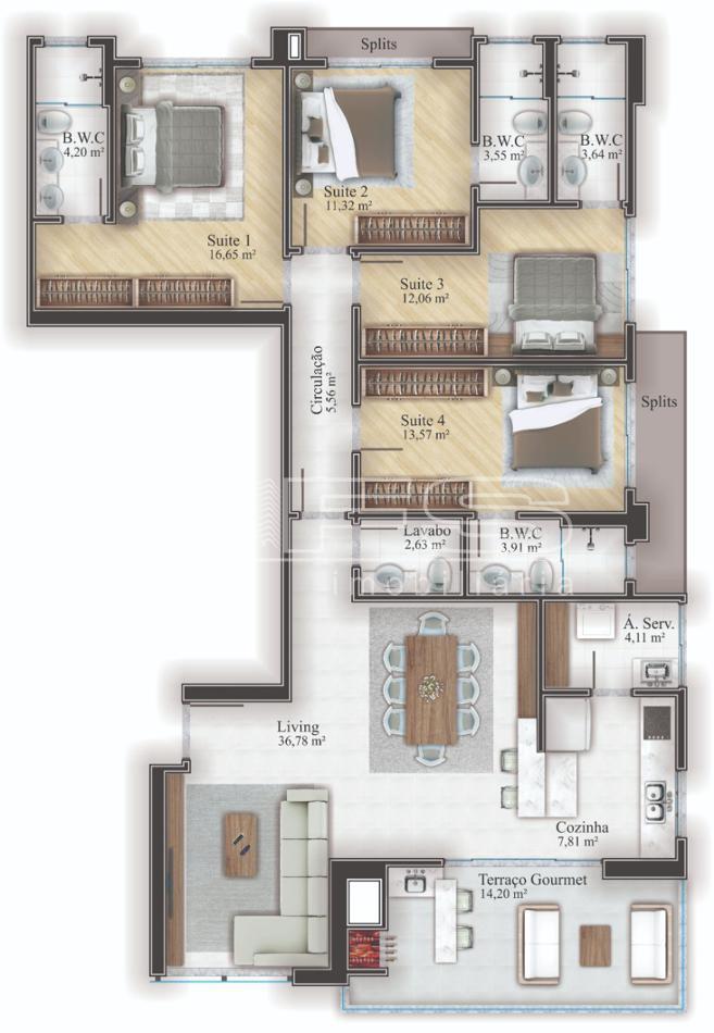 Apartamento com 4 Dormitórios à venda, 162 m² por R$ 1.321.490,00