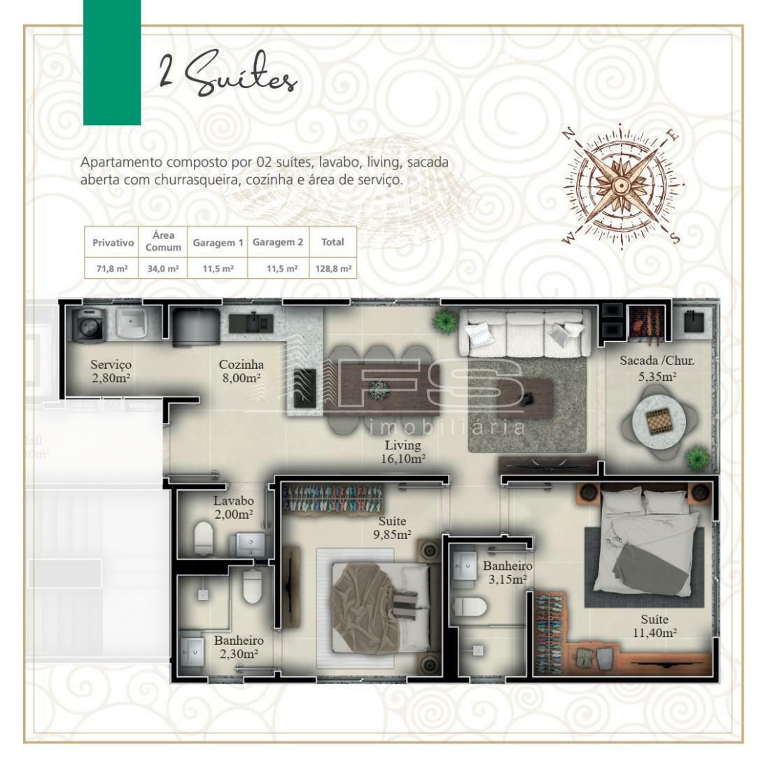 Apartamento com 2 Dormitórios à venda, 71 m² por R$ 489.357,00