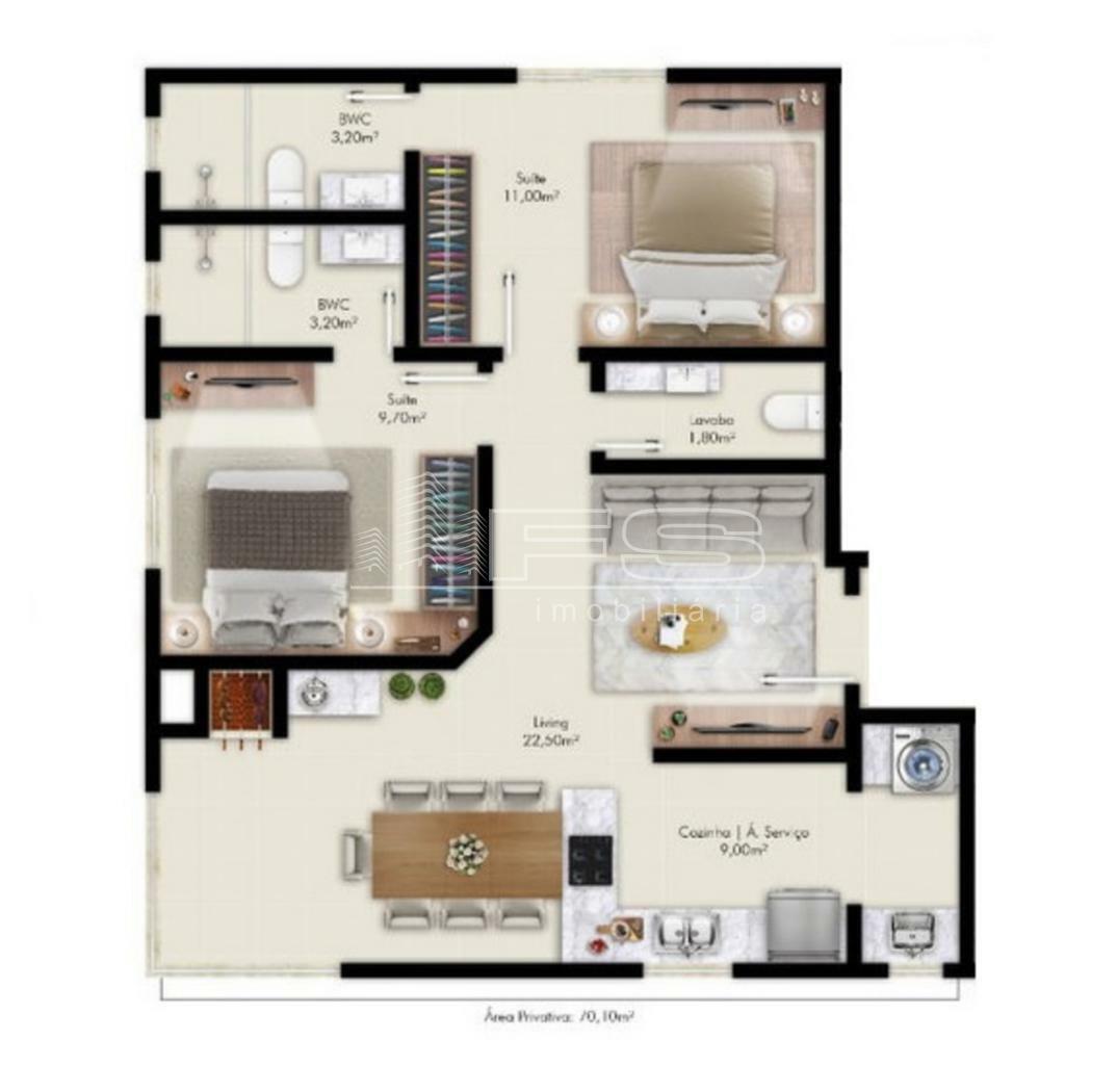 Apartamento com 2 Dormitórios à venda, 70 m² por R$ 515.951,00